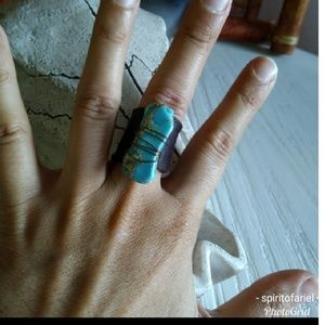 Handmade leather ring with imperial jasper